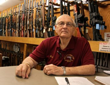 Bob Viden, owner of Bob's Little Sport Shop in Glassboro, says his shop will continue selling the ammunition that Walmart has decided to drop from its inventory. (Emma Lee/WHYY)