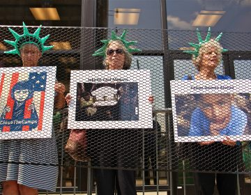 Liberty behind bars was the theme of an Elder Witness protest at the Philadelphia field office for Immigration and Customs Enforcement (ICE). The group objects to policies that separate families and put children in detention. (Emma Lee/WHYY)