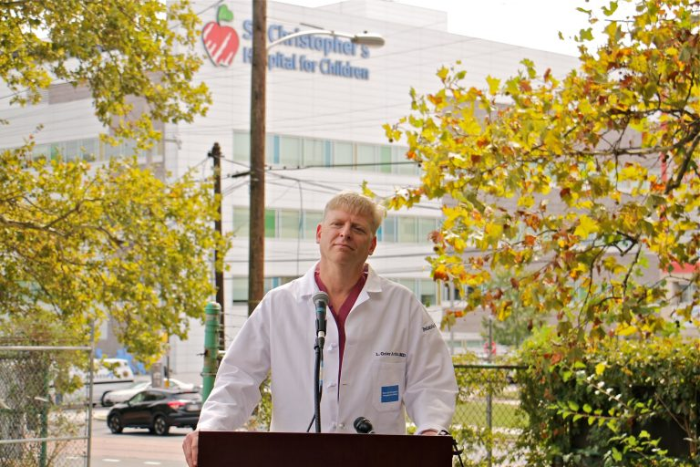 Dr. Grier Arthur, a pediatric surgeon at St. Christopher's Hospital for Children, expresses the conditions the hospital staff would like to see met by a new owner. (Emma Lee/WHYY)