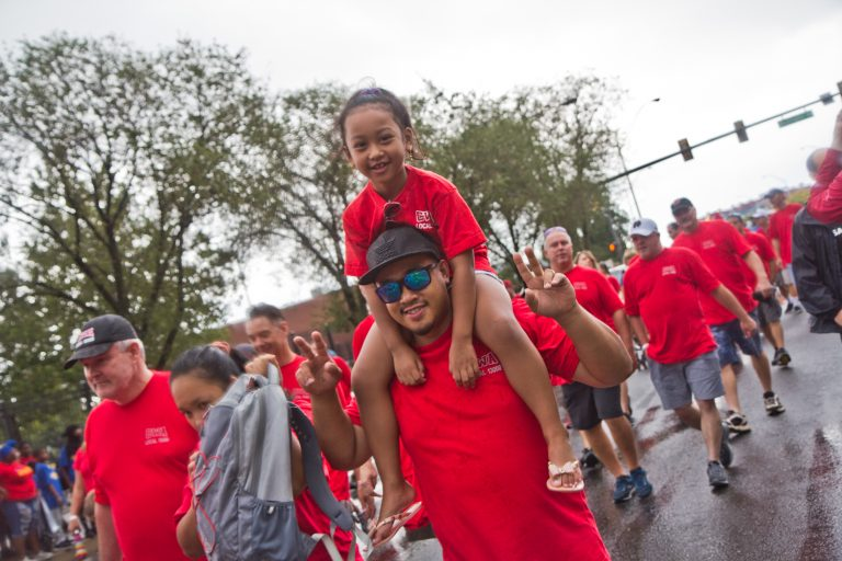 Communications Workers of America march in Philadelphia's 2019 Labor Day Parade. (Kimberly Paynter/WHYY)