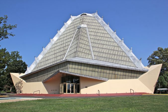 Beth Sholom Synagogue in Elkins Park is the only synagogue designed by architect Frank Lloyd Wright. The building was completed in 1959. (Emma Lee/WHYY)