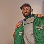 Shamus Clancy, Philadelphia writer and sports super fan, was gifted a classic Eagles jacket from his girlfriend, whom he met the night of the Eagles Super Bowl parade. (Kimberly Paynter/WHYY)