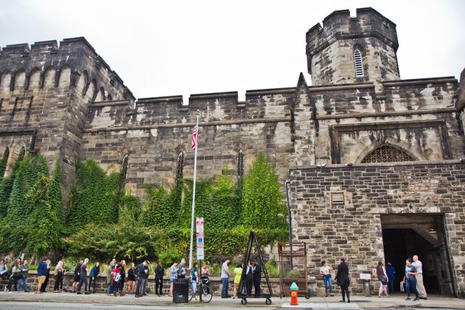 About 150 people lined up outside Eastern State Penitentiary Friday morning to get a free tattoo. (Kimberly Paynter/WHYY)