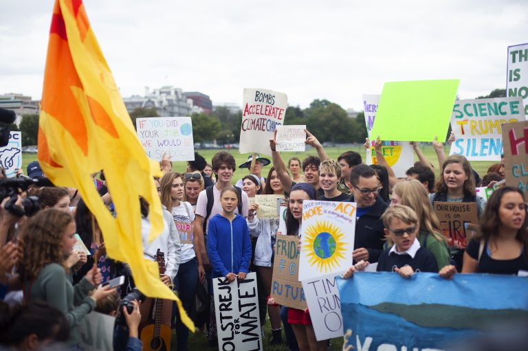 Along with increasing awareness of the dangers of climate change, Thunberg says she wants people to use the power of their votes to elect leaders who will work to reduce carbon emissions and slow global warming. (Mhari Shaw/NPR)