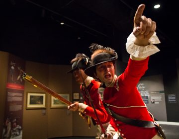 A life-sized figure of Richard St. George, a British solider during the Revolutionary War. (Kimberly Paynter/WHYY)