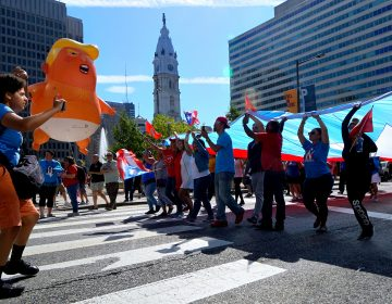 Puerto Ricans from the region came together two years after Hurricane Maria caused massive devastation on the island at a rally and march on the Parkway. (Bastiaan Slabbers for WHYY)