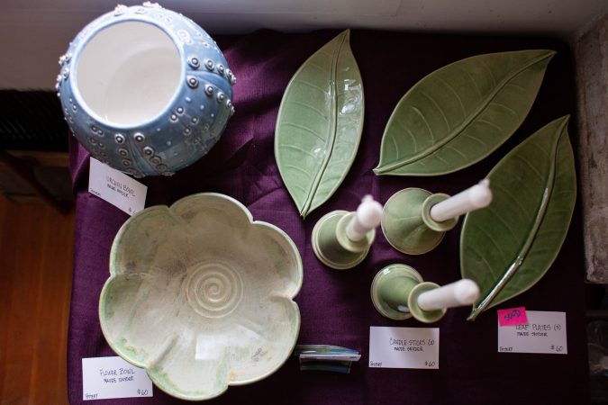 Pottery by Maude Snyder is on display at one of the galleries at
