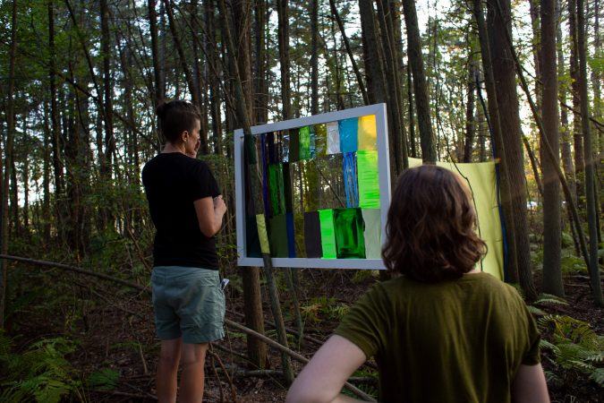 Visitors interact with some of the environmental art pieces at