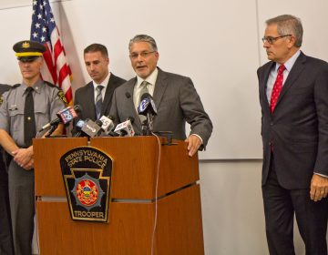 Prosecutor Anthony Vociannounces the arrest of Theodore Dill Donahue, a pizza delivery man in Germantown, who is accused of murdering a 27 year-old woman who had been his girlfriend. (Kimberly Paynter/WHYY)