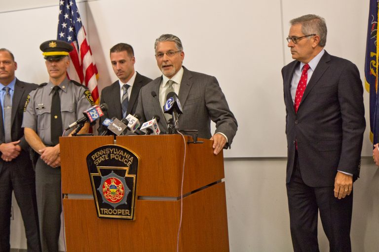 Prosecutor Anthony Voci announces the arrest of Theodore Dill Donahue, a pizza delivery man in Germantown, who is accused of murdering a 27 year-old woman who had been his girlfriend. (Kimberly Paynter/WHYY)