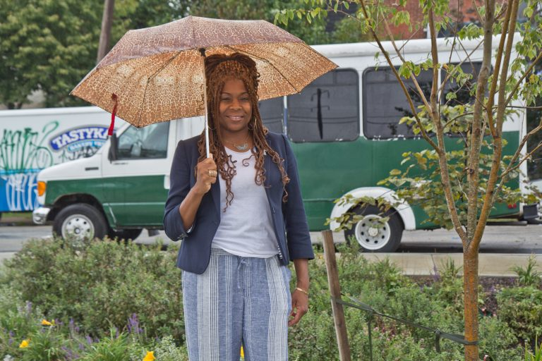 Tonnetta Graham is president of the Strawberry Mansion CDC. (Kimberly Paynter/WHYY)d