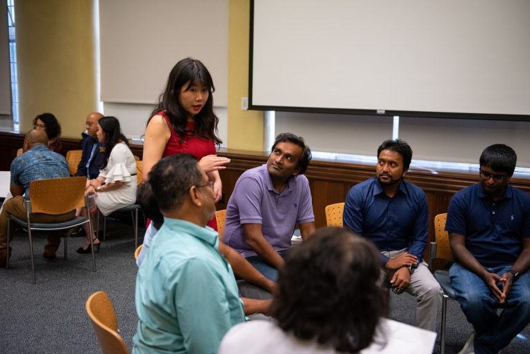 Stephanie Sun, who serves on the Governor's Advisory Commission on Asian Pacific American Affairs, speaks with a breakout group during an Asian American/Pacific Islander town hall on the 2020 census on Saturday, Sept. 7, 2019. (Kriston Jae Bethel for WHYY)