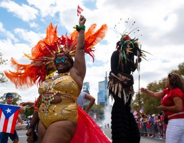 Joya Ellis participates in the 57th annual Puerto Rican Day Parade in Philadelphia. (Kriston Jae Bethel for WHYY)