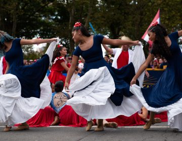 Dancers from Esperanza Academy perform during the Puerto Rican Day Parade. (Kriston Jae Bethel for WHYY)