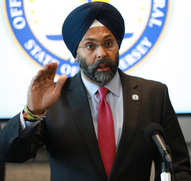 New Jersey Attorney General Gurbir Grewal holds a press conference in Newark, N.J. on Friday, Sept. 27, 2019. (Office of the Attorney General/Tim Larsen)