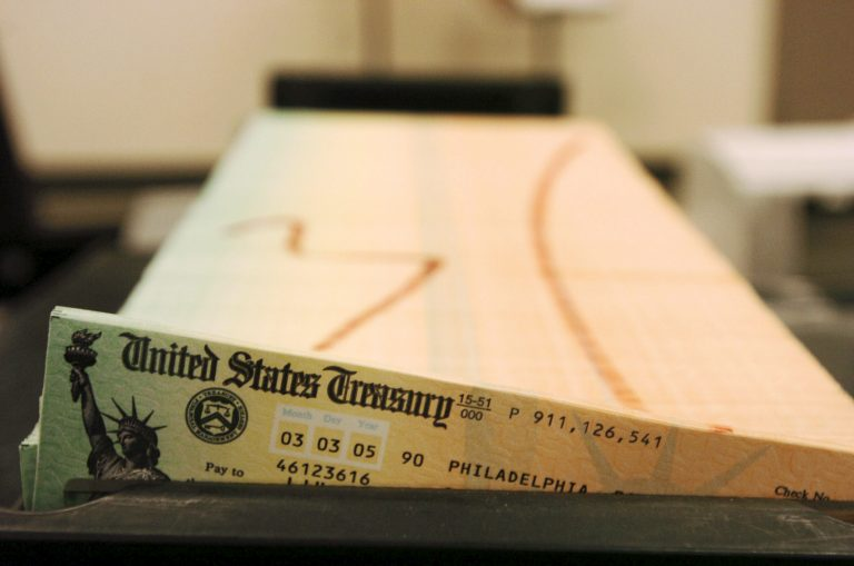 In this file photo, trays of printed social security checks wait to be mailed from the U.S. Treasury's Financial Management services facility in Philadelphia. (Bradley C Bower/AP Photo)