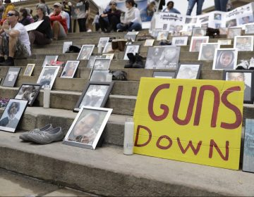 Demonstrators and students gather during a rally against gun violence on the steps of the Philadelphia Museum of Art, Monday, June 11, 2018, in Philadelphia. (Matt Slocum/AP Photo)