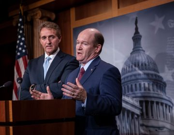 Sen. Jeff Flake, R-Ariz., left, and Sen. Chris Coons, D-Del., speak to reporters about their effort to bring up legislation to protect special counsel Robert Mueller, at the Capitol in Washington, Wednesday, Nov. 14, 2018.  (AP Photo/J. Scott Applewhite)