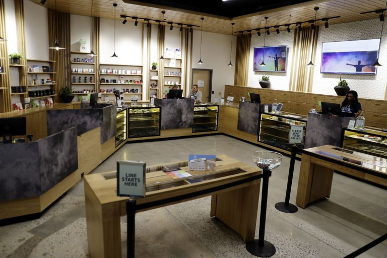 The sales floor of Beyond/Hello, Center City Philadelphia's first medical marijuana dispensary is seen, Thursday, Jan. 24, 2019. (Matt Slocum/AP Photo)