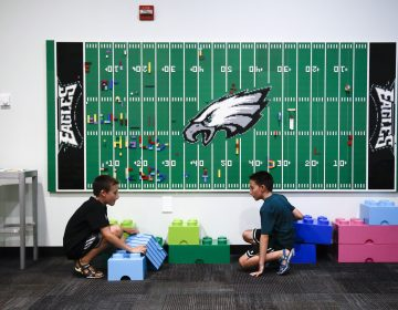 In this Thursday, Aug. 22, 2019, photo, 10-year-old twin brothers Ryan left, and Jack Ykoruk, play in the Lincoln Financial Field sensory room before a preseason NFL football game between the Philadelphia Eagles and the Baltimore Ravens in Philadelphia. (Matt Rourke/AP Photo)