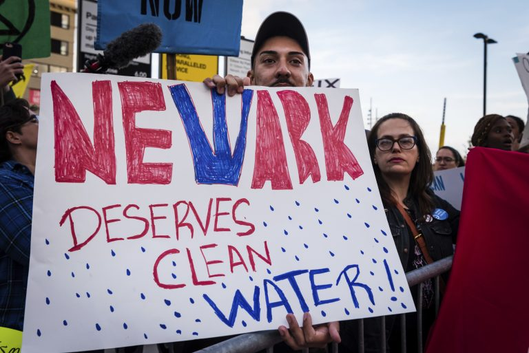 Clean water activists gathered outside the Prudential Center on Monday, August 26, 2019, demanding clean water amid the growing lead crisis in Newark as the city hosted the VMAs for the first time. (Photo by Gabriele Holtermann-Gorden/Sipa USA)(Sipa via AP Images)