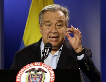 Jan. 13, 2018 file photo, U.N. Secretary-General Antonio Guterres talks to the media during a join declaration with the Colombian president, in Bogota, Colombia. (Fernando Vergara/AP Photo)