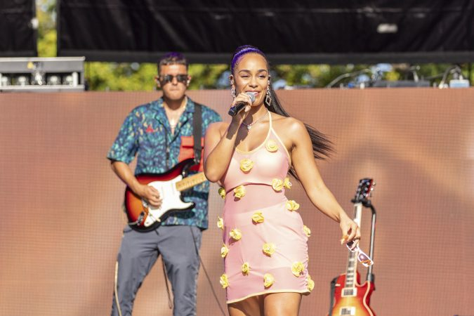 Jorja Smith during the Made In America Music Festival on August, 31 2019, in Philadelphia, Pennsylvania (Photo by Daniel DeSlover/Sipa USA)(Sipa via AP Images)