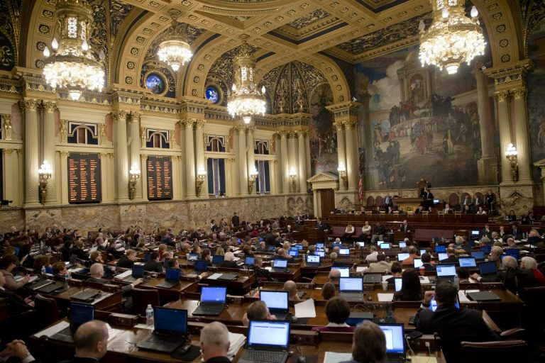 The state House chamber. Advocates for stricter gun control now have reason to fear their highest-priority bill won't make it to consideration before the full chamber. (Matt Rourke/AP Photo)