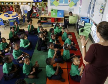 A kindergarten teacher and her students at KIPP Thrive Academy, are pictured in this file photo, Wednesday, Sept. 9, 2015, in Newark, N.J. (Mel Evans/AP Photo)