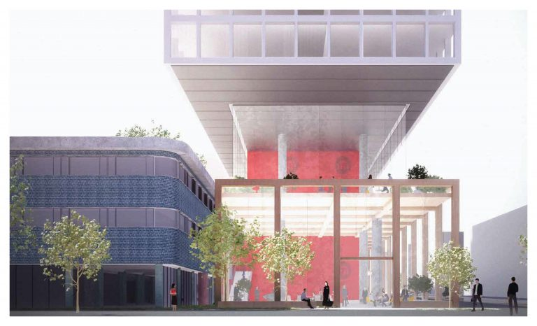 Renderings of a new mixed-use development at Broad and Lombard streets. The mid-century modern building is being sold to Goldenberg Group for $16.1 million, pending approval by City Council. (Courtesy of The Goldenberg Group)