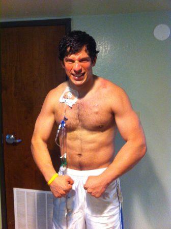 Back in the hospital in Spring 2012 & prepared to battle. Courtesy of David Fajgenbaum