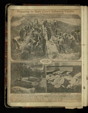 """Preparing to Bury City's Influenza Victims,"" undated clipping from a scrapbook of the influenza pandemic in Philadelphia compiled by an unknown person, August 1918–March 1919. (Historical Medical Library of The College of Physicians of Philadelphia; acquired October 19, 1919, through the Exchange Program of the Medical Library Association)"