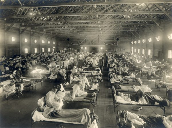 Emergency hospital during influenza epidemic, Camp Funston, Kansas, probably early 1918. (OHA 250: New Contributed Photographs Collection, Otis Historical Archives, National Museum of Health and Medicine)
