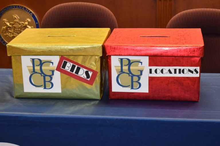 The Pennsylvania Gaming Control Board received no bids for the right to a sixth mini-casino license. Bid and location boxes are seen before the start of the board's meeting on Sept. 4, 2019, in Harrisburg. (Ed Mahon/PA Post)