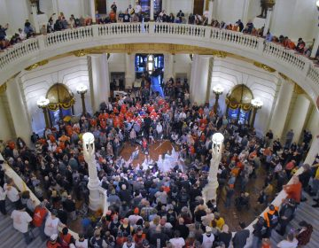 Ralliers at the state Capitol often fill the rotunda floor and line its stairs and balconies. In this photo, hundreds of demonstrators gathered for an annual Second Amendment rally. (Ed Mahon/PA Post)