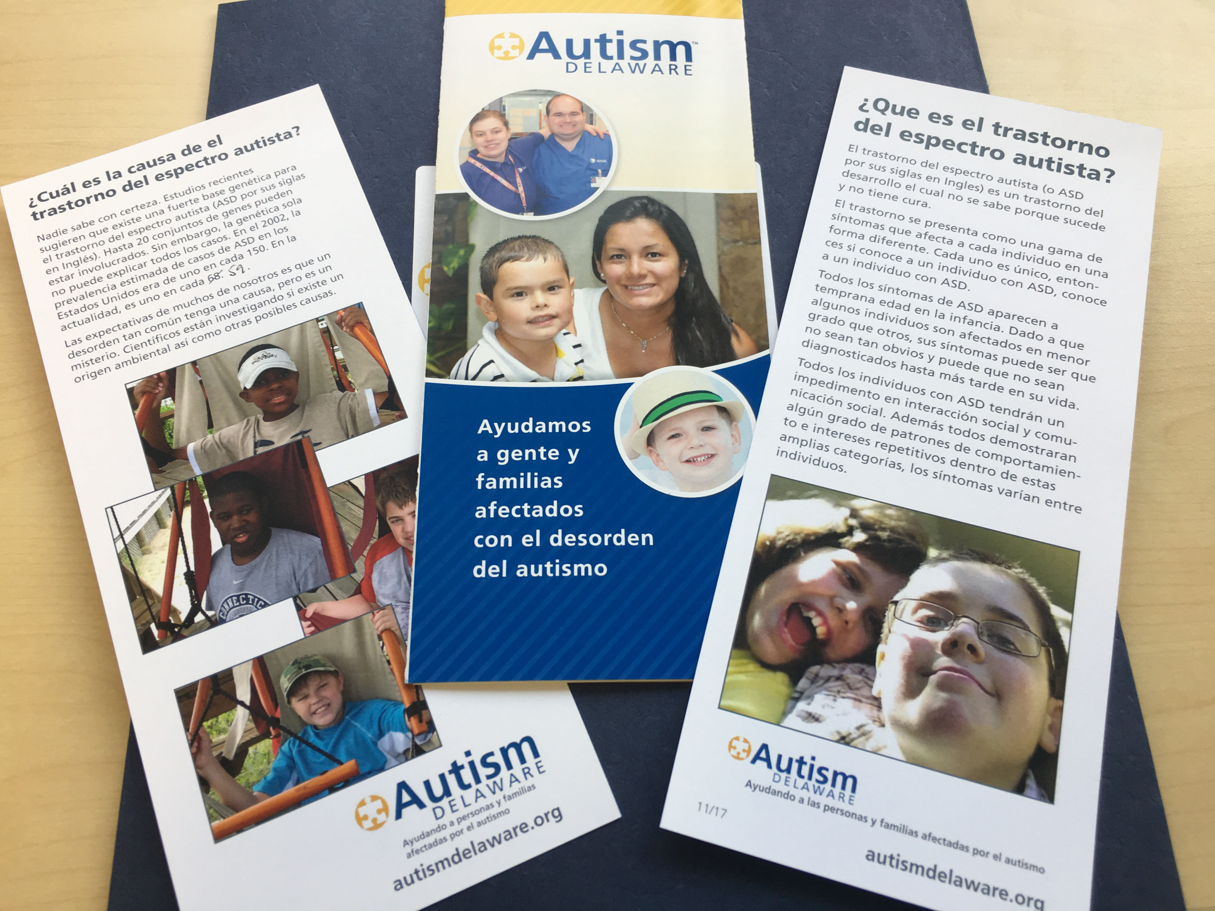 Spanish language pamphlets produced by Autism Delaware are part of the group's effort to better connect Latino families to services they need. (Mark Eichmann/WHYY)