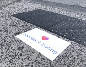Facebook ads for the tech giant's new dating app appeared on Philly sidewalks this week. (Courtesy of Conrad Benner/Twitter)