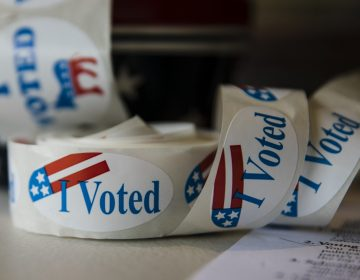 Stickers are placed out for voters at a polling place in Buckingham, Pa., Tuesday, Nov. 6, 2018. (Matt Rourke/AP Photo)