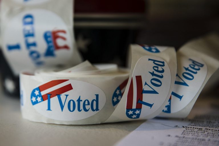 Stickers are placed out for voters at a polling place on Nov. 6, 2018. (Matt Rourke/AP Photo)