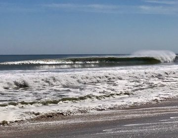 Waves in South Seaside Park on Sept. 20, 2019. (Justin Auciello/WHYY)