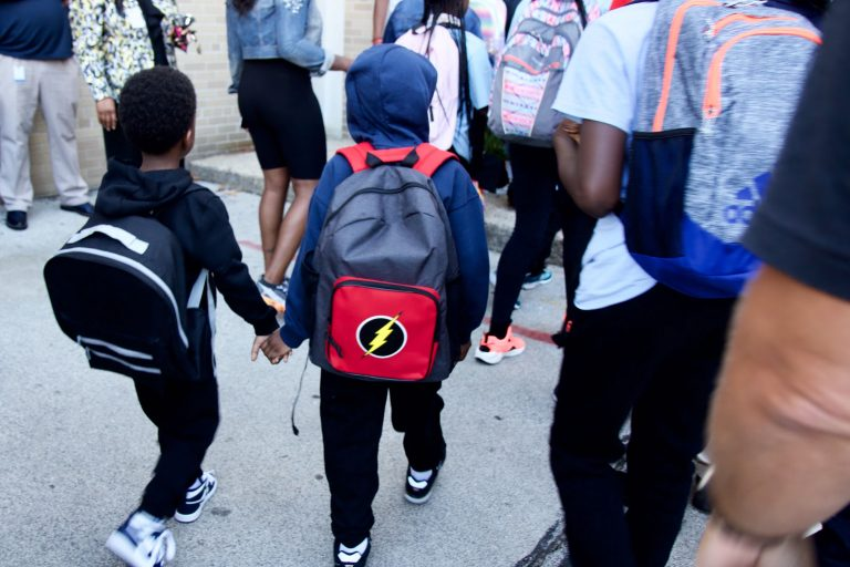 Philadelphia students arrive for the first day of school, 2019. (Kimberly Paynter/WHYY)
