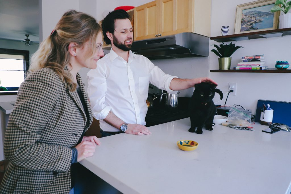 Because Animals co-founder Joshua Errett's cat Frankie was one of the first to try the prototype cat treat, made with lab grown mouse meat. (Photo provided by Because Animals.)