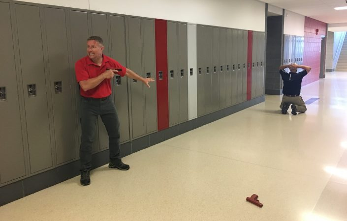Andrew Blubagh runs a school shooter simulation at a high school in Ohio. (Jen Kinney for Keystone Crossroads)