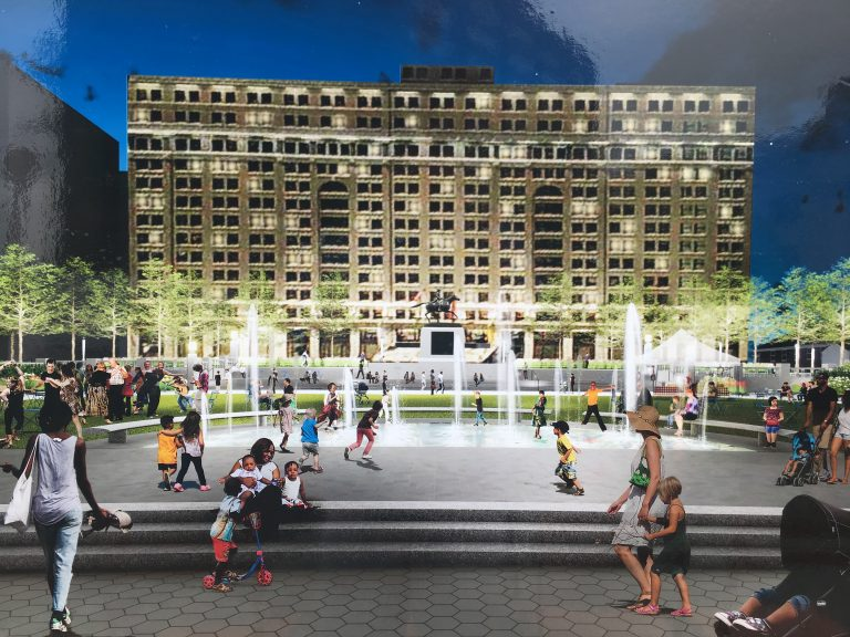 A rendering shows a lighted fountain feature that will be part of the upgrades installed at Wilmington's Rodney Square. (Mark Eichmann/WHYY)