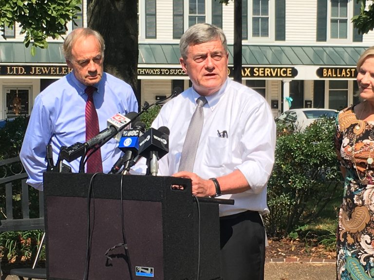 U.S. Census Bureau Director Steven Dillingham (right) met with U.S. Sen. Tom Carper and members of the Delaware Complete Count Commission in Georgetown Monday morning. (Mark Eichmann/WHYY)