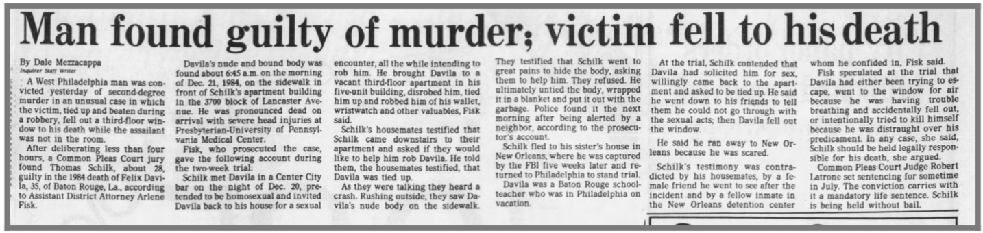 An article from the Philadelphia Inquirer in 1986 with the headline