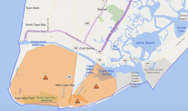 An image of an Atlantic City Electric outage map showing Cape May City and Cape May Point Borough.