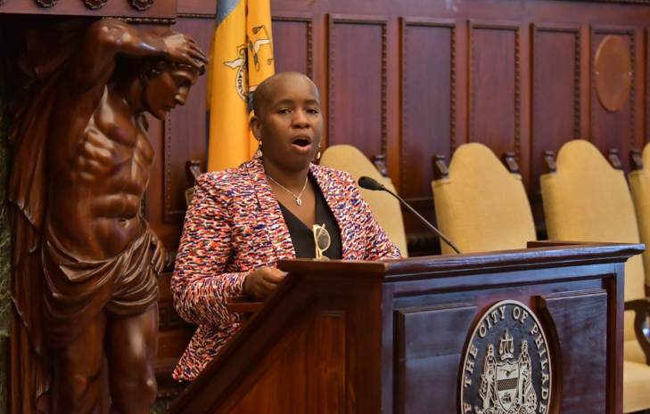Cherron Perry-Thomas, director of Social Impact at the Diasporic Alliance for Cannabis Opportunities, speaks during the announcement of the cannabis conference (Abdul Sulayman/The Philadelphia Tribune)