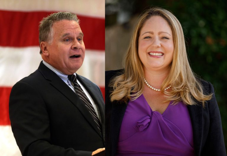 U.S. Rep. Chris Smith (left) and challenger Stephanie Schmid (right) (Mel Evans/AP Photo)