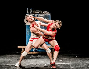 Alfonso Barón (left) and Luciano Rosso in 'Un Poyo Rojo,' a dance lampooning male competition and an entry in this year's Philadelphia Fringe Festival. (Courtesy of Paola Evelina)
